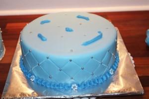 Blå dåbskage med fondant - Annettes kager