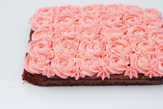 Brownie med roser 3