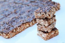 Rice krispies treat med mørk chokolade