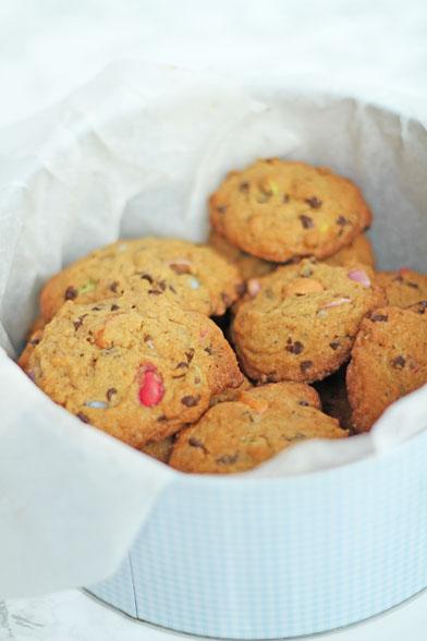 Chokolade cookies med smarties